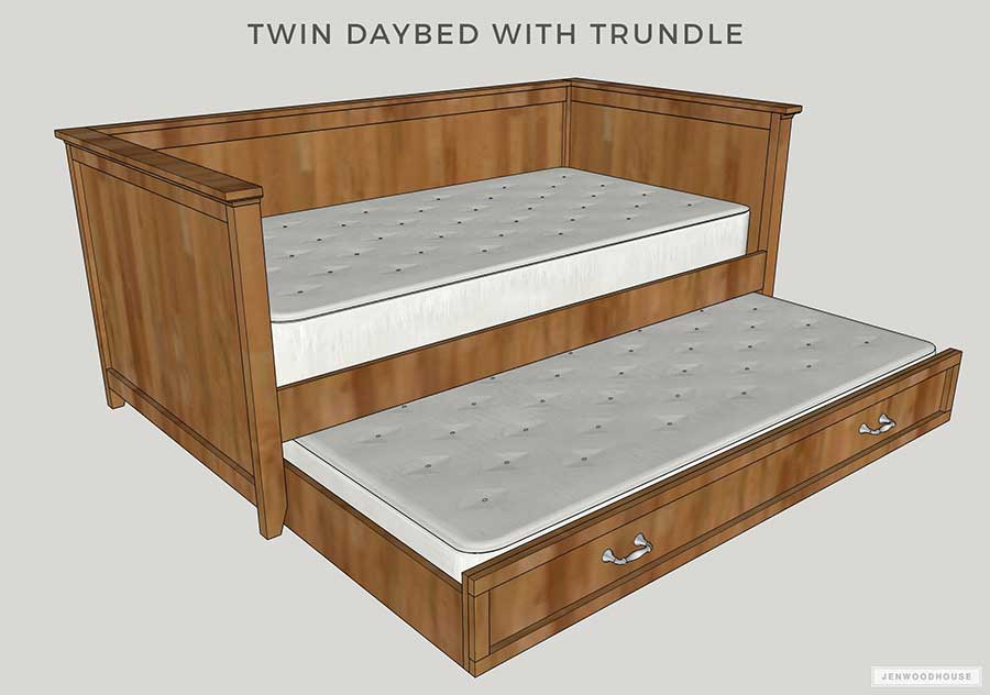 diy twin daybed with trundle free plans