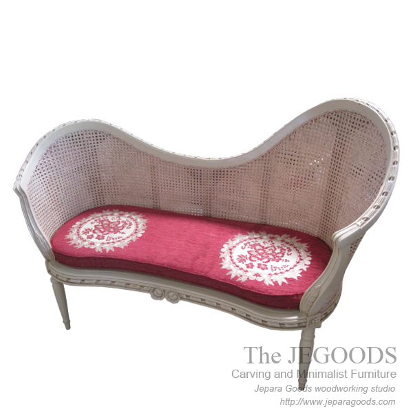 Shabby Bench Love 2 Seat with Rattan