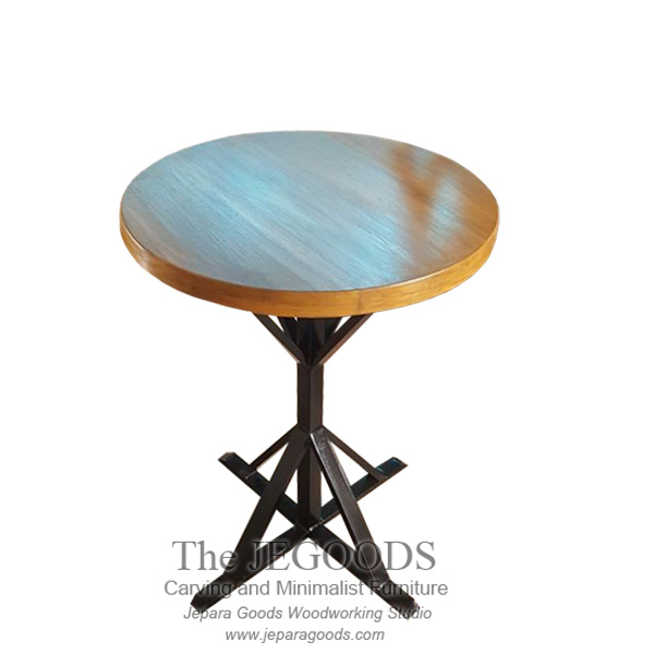 Round Wood Iron Table