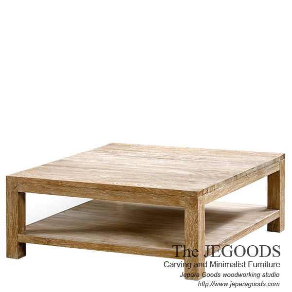 Kotak Pesagi Rustic Coffee Table White Wash