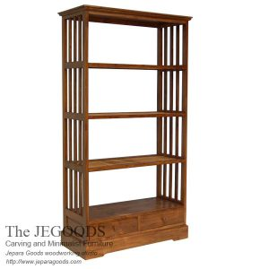 Bundar Bookcase Teak Minimalist Furniture Indonesia Factory Price