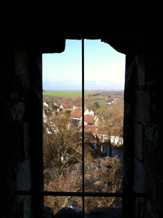A view of the countryside from inside La Tour César