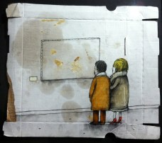 Dran. Croute. Mixed media on pizza box. 2010. Private collection.