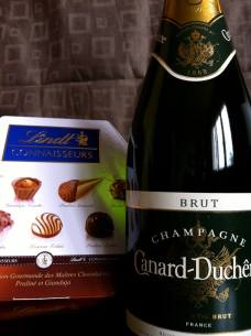 "June 26: Celebrating the ""end"" of DOMA ... ""It may not be Jeff de Bruges and Veuve Clicquot, but there will still be no diet tonight!"""
