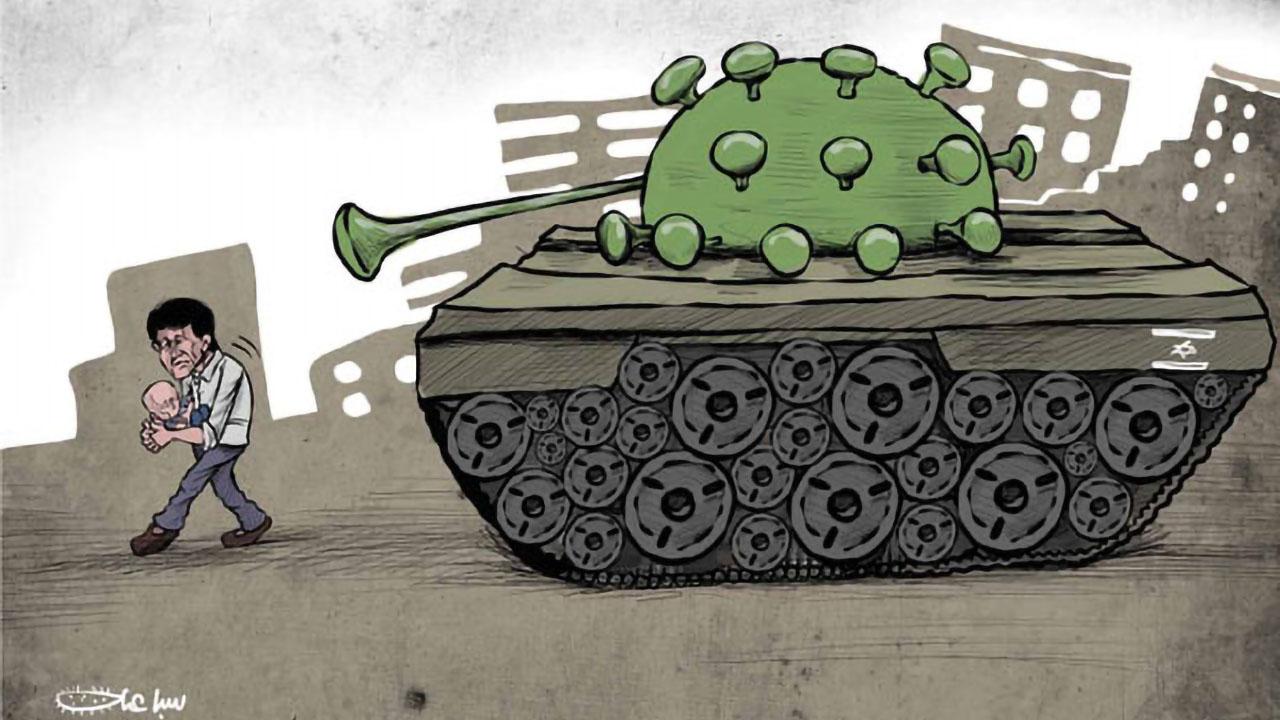 Cartoon coronavirus tank
