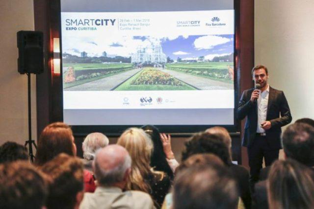 Evento de lançamento do Smart City Expo 2018 Curitiba. Na foto, Victor Moreno, project manager da FIRA Barcelona. Foto: Pedro Ribas/SMCS/Divulgação