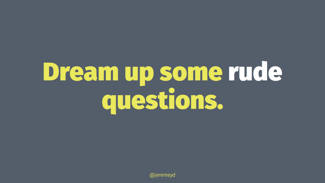 Dream up some rude questions exercise