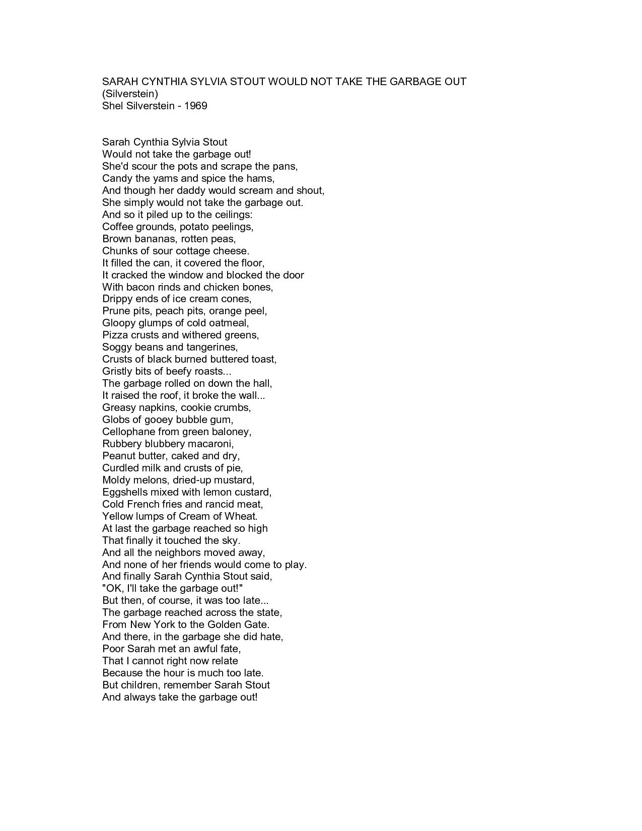 Sick Poem By Shel Silverstein