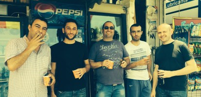 Ziad El Ahmadie, Samer Zaghir, Bahaa Daou, Makram Aboul Hosn and me, Beirut, 2014
