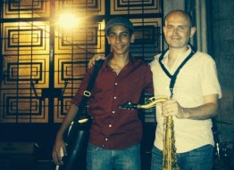 With one of my saxophone students, Ibrahim Shawki, Beirut, 2013