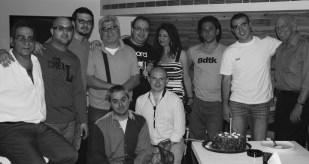 Some of Beirut's jazz musicians and fans: Khaled, Carlos Abou Chabke, Raffi Mandalian, Abboud El-Saadi, Elie Chemaly (kneeling), Arthur Satyan, me (kneeling), Adrienne Pitzini, Samer Zaghir, Makram Aboul Hosn, Dr. Gene Aitken