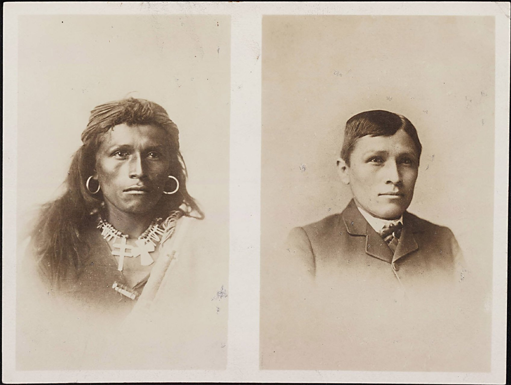 These are the original sepia-toned 1882 and 1885 Tom Torlino portraits. These are the most recognizable photographs of the Carlisle Indian Industrial boarding school, partly because of the stark transformation. There's little known about Tom Torlino beyond his student file, but his portrait has become the symbol of assimilation and the loss of indigenous culture.