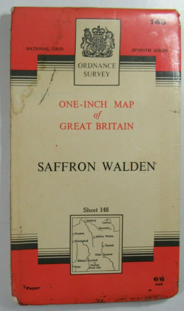 1968 Old OS Ordnance Survey Seventh Series One-Inch Map Sheet 148 Saffron Walden OS One-Inch Seventh Series maps 2