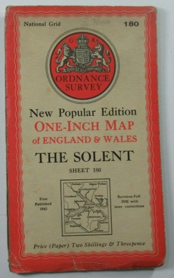1945 Old OS Ordnance Survey One-Inch New Popular  Edition Map 180 The Solent OS One-Inch New Popular Edition maps 2