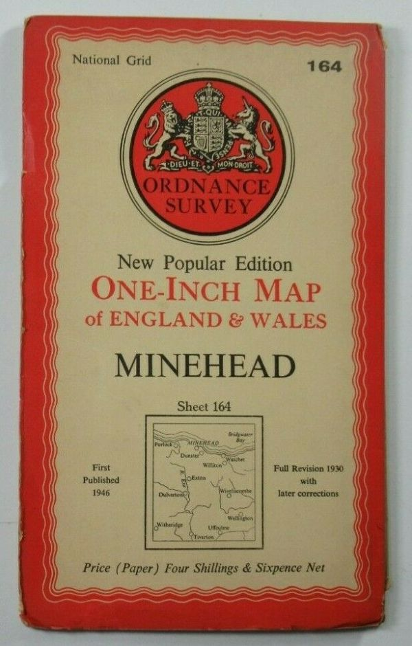 1946 Old OS Ordnance Survey One-Inch New Popular  Edition Map 164 Minehead OS One-Inch New Popular Edition maps 2