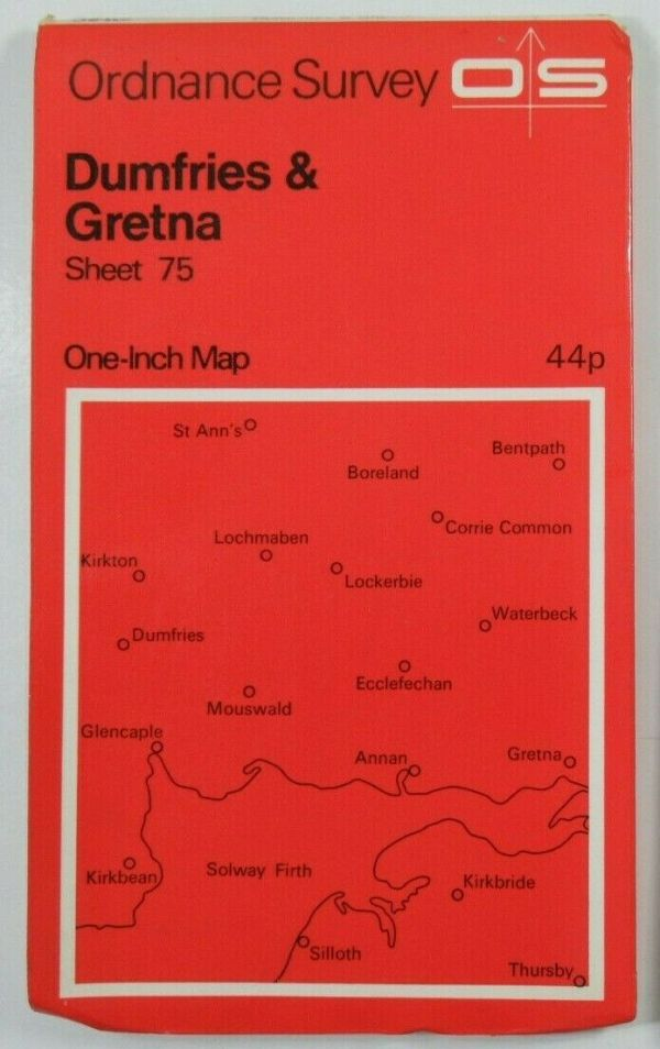 1972 Old OS Ordnance Survey One-inch Seventh Series Map 75 Dumfries & Gretna OS One-Inch Seventh Series maps 2
