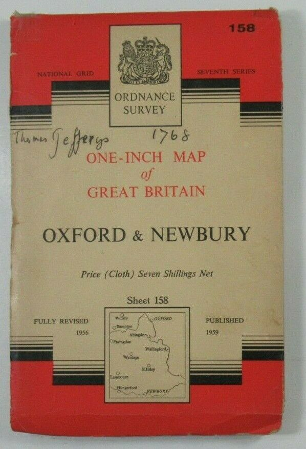1962 Old OS Ordnance Survey Seventh Series One-Inch CLOTH Map 158 Oxford Newbury OS One-Inch Seventh Series maps 2