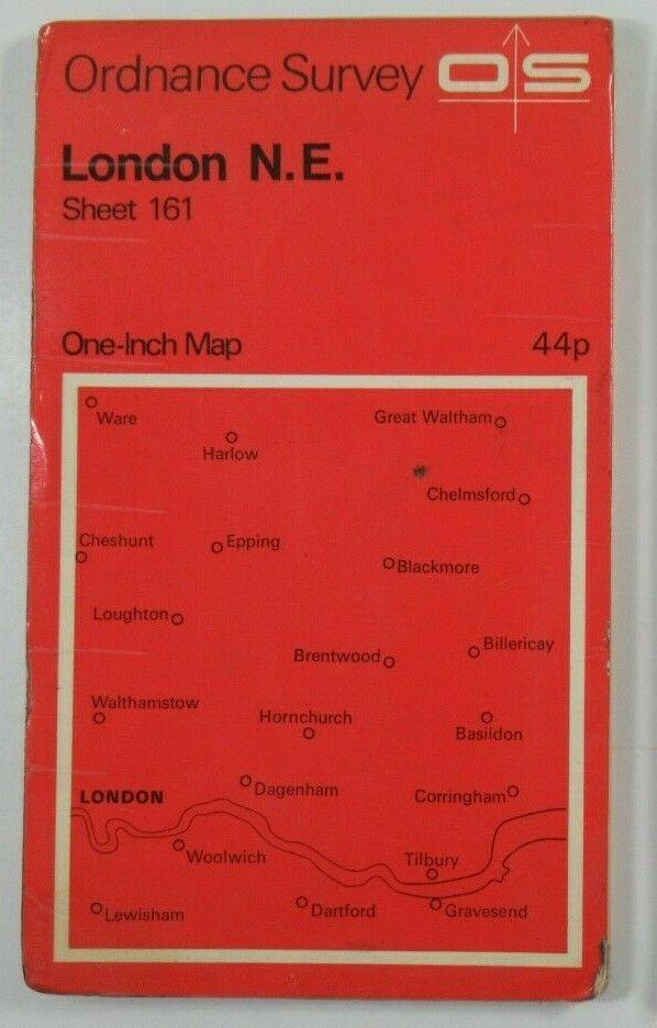 1970 Old Vintage OS Ordnance Survey One-inch Seventh Series Map 161 London N E OS One-Inch Seventh Series maps 2