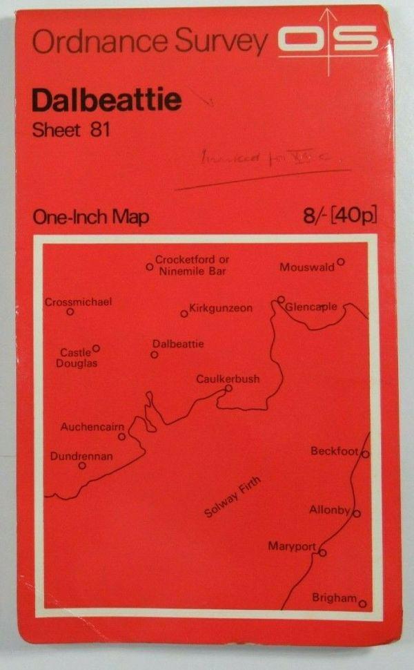 1963 Old Vintage OS Ordnance Survey Seventh Series One-Inch Map 81 Dalbeattie OS One-Inch Seventh Series maps 2