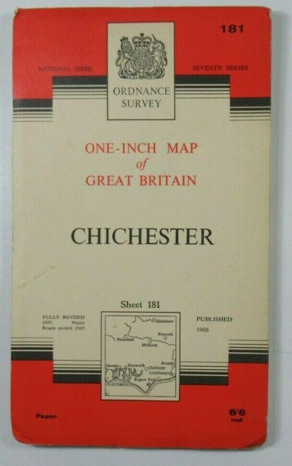1965 Old Vintage OS Ordnance Survey One-Inch Seventh Series Map 181 Chichester OS One-Inch Seventh Series maps 2