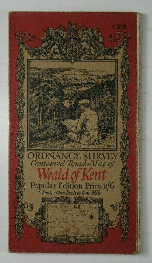1927 Old Vintage OS Ordnance Survey One-Inch Popular Edition Map 126 Weald of Kent OS One-Inch Popular Edition Maps 2
