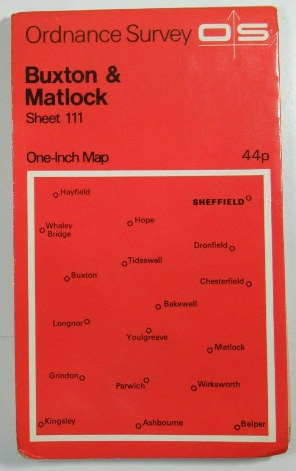 1967 Old OS Ordnance Survey Seventh Series One-Inch Map Sheet 111 Buxton & Matlock OS One-Inch Seventh Series maps 2