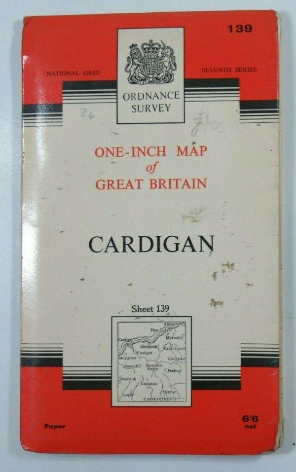 1967 OS Old Vintage Ordnance Survey Seventh Series One-Inch Map 139 Cardigan OS One-Inch Seventh Series maps 2