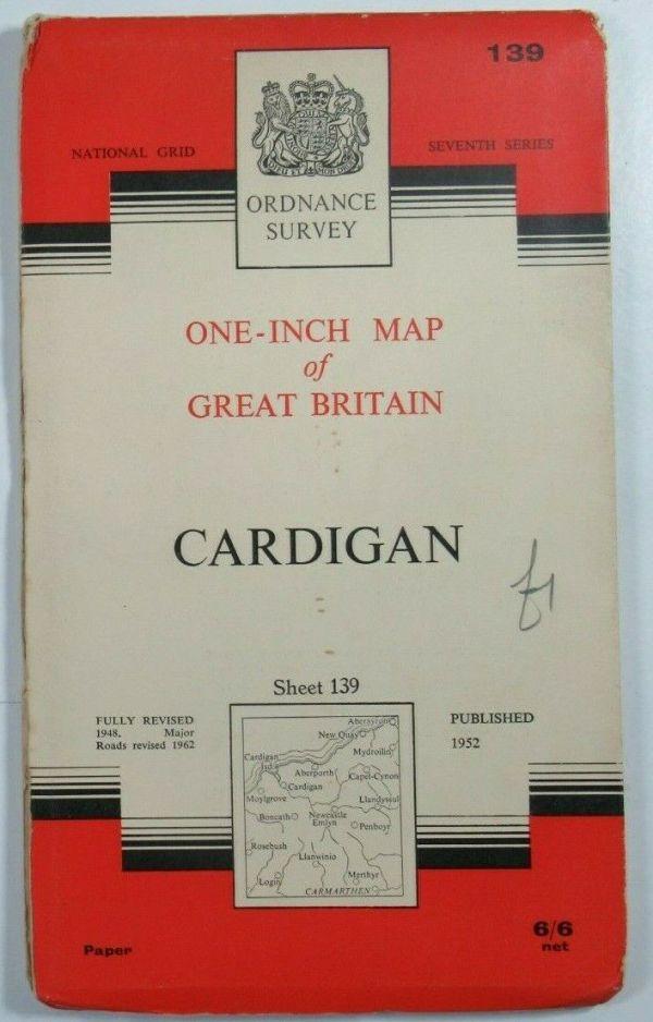 1963 OS Old Vintage Ordnance Survey Seventh Series One-Inch Map 139 Cardigan OS One-Inch Seventh Series maps 2