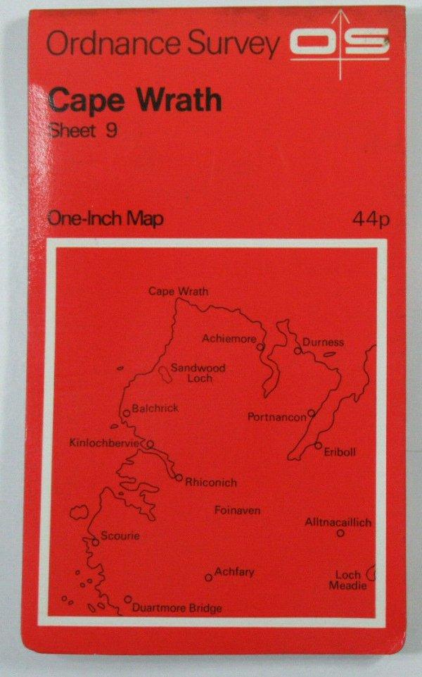 1967 Old Vintage OS Ordnance Survey One-inch Seventh Series Map 9 Cape Wrath OS One-Inch Seventh Series maps 2