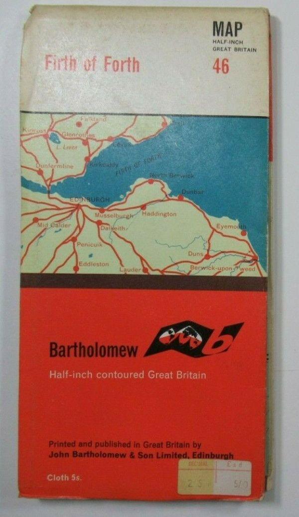 1964 Old Vintage Bartholomew's Half-Inch CLOTH Map Series 46 Firth of Forth Bartholomew Maps 2