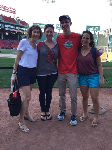 My mom, sister, best friend, and I on the field thanks to Steve from NESN