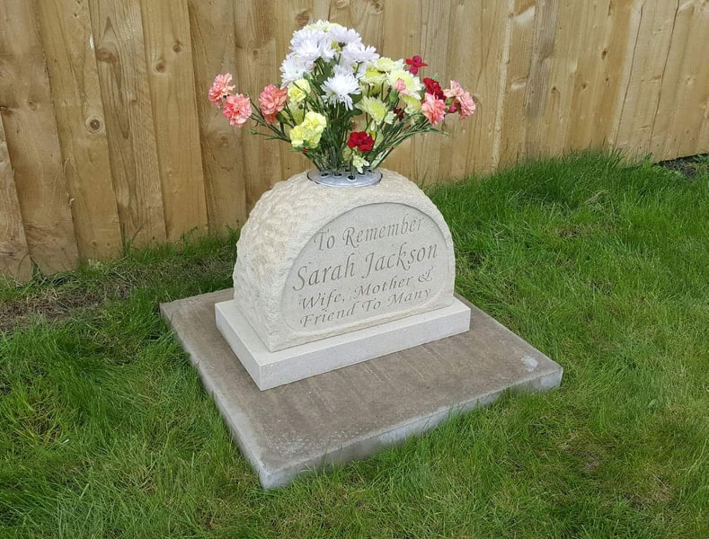 cremation memorial made from yorkstone