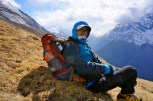 Taking a rest before reaching high camp