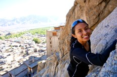 Nadya going up the walls behind Leh palace and me as a safety net for her.