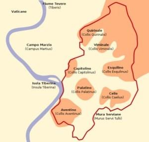 Les Sept Collines de Rome et la Muraille Servienne.
