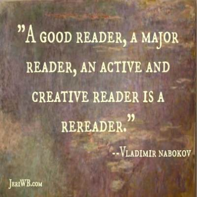 Image of Nabokov reading quote.