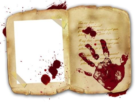 Image of bloody handprint on book