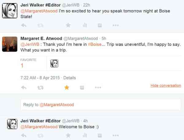 Picture of Margaret Atwood Tweet
