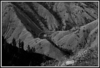 Picture of aerial view of Carlson ranch near Riggins, Idaho
