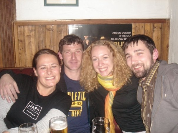 (from left) Liam, Natalie, Damien (looking MUCH younger than he does in person) and Sunni a few pints in at The Celt.