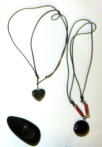 Energy balancing necklaces and a natural stone with a heart...