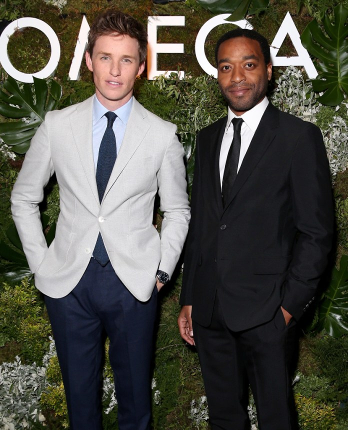 LONDON, ENGLAND - JUNE 04: (L-R) Actors Eddie Redmayne and Chiwetel Eljiofer attend the OMEGA VIP dinner in honour of new international ambassador Eddie Redmayne at Quaglino's on June 4, 2015 in London, England. (Photo by Mike Marsland/WireImage for OMEGA) *** Local Caption *** Eddie Redmayne;Chiwetel Eljiofer