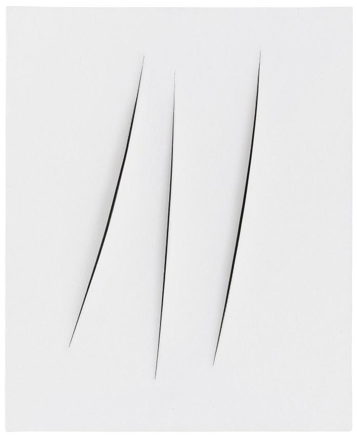 Lucio Fontana, Concetto spaziale, Attese, 1967, water-based paint on canvas, 60 x 51.1 cm, Courtesy Fondazione Lucio Fontana. Private collection.
