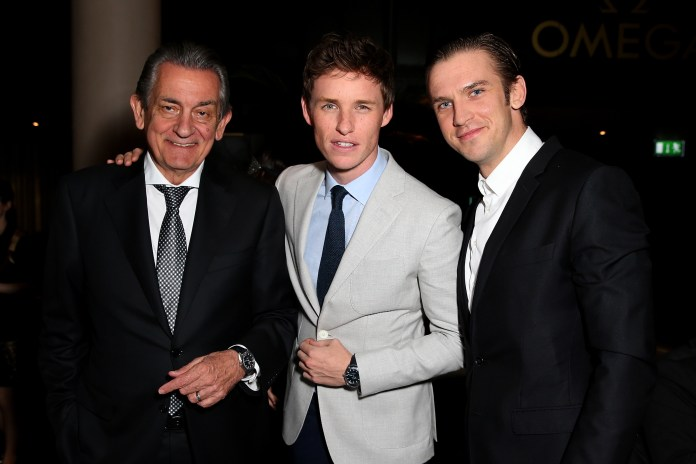 LONDON, ENGLAND - JUNE 04: (L-R) President of OMEGA, Stephen Urquhart, actors Eddie Redmayne and Dan Stevens attend the OMEGA VIP dinner in honour of new international ambassador Eddie Redmayne at Quaglino's on June 4, 2015 in London, England. (Photo by Mike Marsland/WireImage for OMEGA) *** Local Caption *** Stephen Urquhart;Eddie Redmayne;Dan Stevens