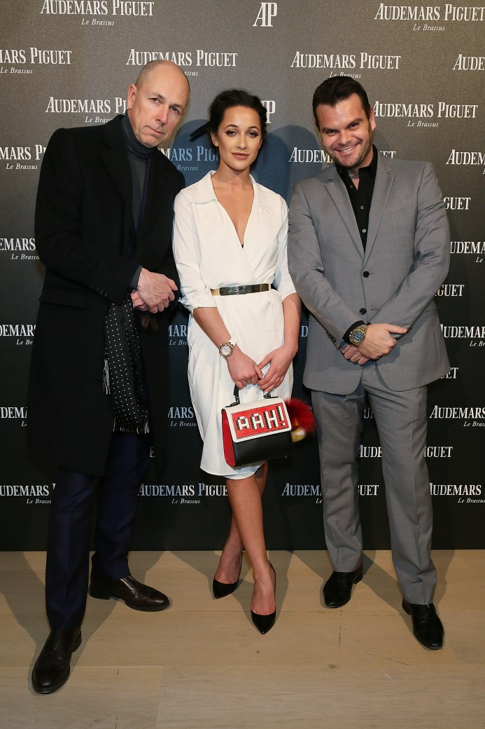 LONDON, ENGLAND - FEBRUARY 22: (L-R) Dylan Jones, Roxie Nafousi and Jose Torrens, CEO of Audemars Piguet UK attend as Audemars Piguet launch the Royal Oak Yellow Gold collectio at Phillips Gallery on February 22, 2016 in London, England. (Photo by David M. Benett/Dave Benett/Getty Images for Audemars Piguet) *** Local Caption *** Jillian Hervey; Roxie Nafousi; Dylan Jones