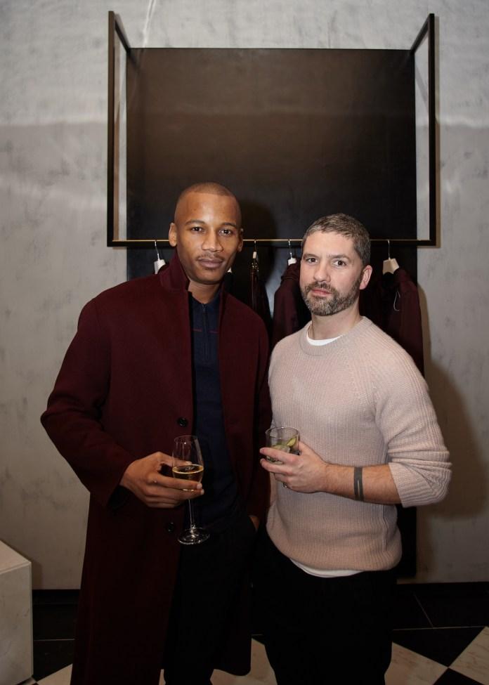 [Eric Underwood and Mark Thomas, Head of Menswear at Joseph]