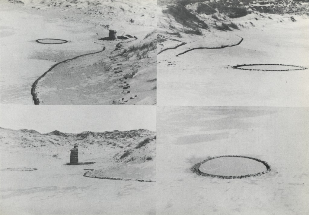 [Barry Flanagan, ring, line and easter bag '67, 1967, Holywell Beach, Cornwall, as documented in Gerry Schum (Ed), LAND ART, Hartwig Popp, Hanover, 1969 © The Estate of Barry Flanagan, 2015]