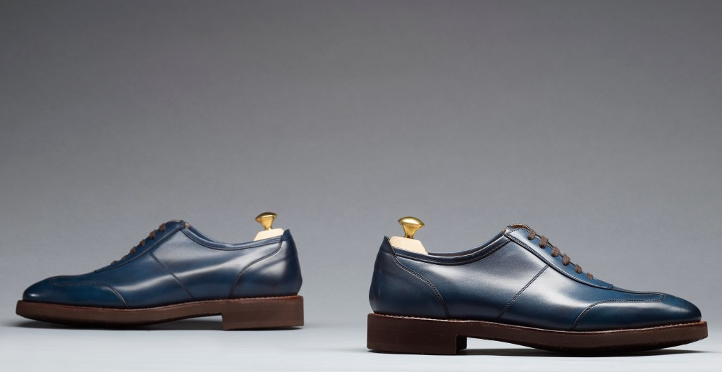 Truro | Blue Burnished Calf | Last 341 | Lightweight Rubber Sole | RRP £395