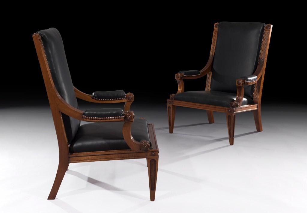 [Freshfords Fine Antiques. Pair of 19th Century Walnut Library Easy Chairs England Circa 1860. 91.5cm high x 61cm wide x 52cm deep]