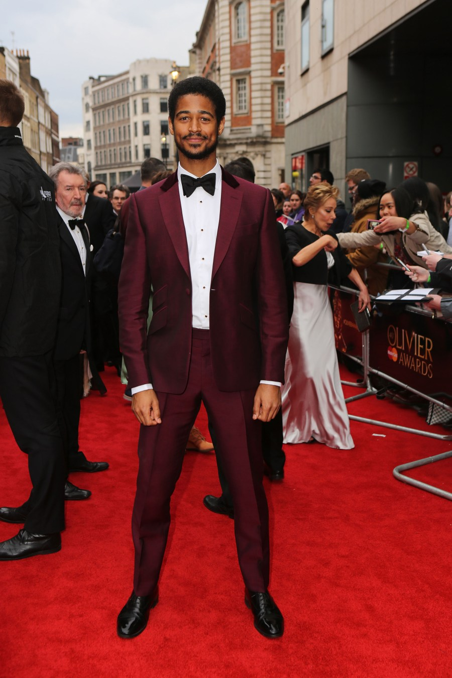 Alfie Enoch wearing Chester Barrie Official Sponsors of Menswear at the Olivier Awards. Gareth Davies Photographer +44 (0) 7774 899 744 Snap Media Productions Twitter: SNAPMEDIAPRO